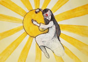 The moon embracing the sun by JenniElfi