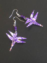 Purple dragonfly origami earrings by sakuralu83