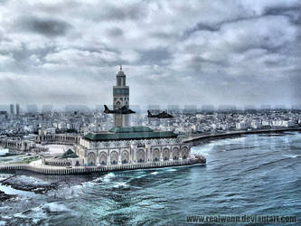 Hassan2 Mosque Sky view by realwann