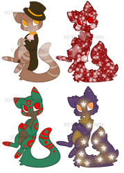 [OPEN] Christmas Cats 50-70 points by VelenieAdopts