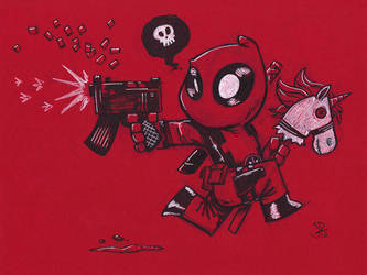 Chibi Hobby Horse Unicorn Deadpool Uzi by joelduggan