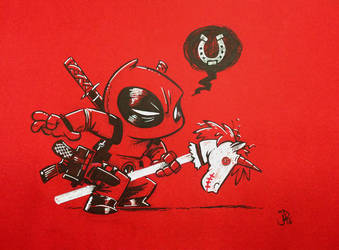 Chibi Hobby Horse Unicorn Deadpool Giddy-up! by joelduggan