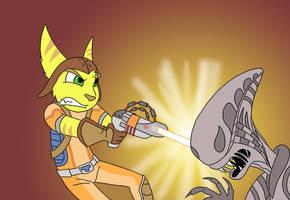 ratchet vs alien by sprucehammer