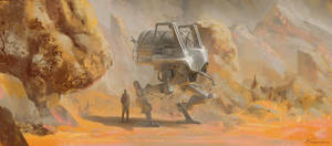 Mech dude in the desert by Long-Pham