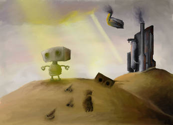 Little robot chases his father by KurekSallayan
