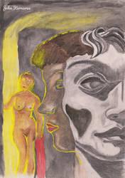 1 woman, 2 faces, 2 hearts by JohnKarnaras