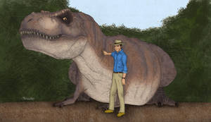 Dr. Grant and Tyrannosaurus by March90