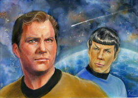 Kirk and Spock by Emushi