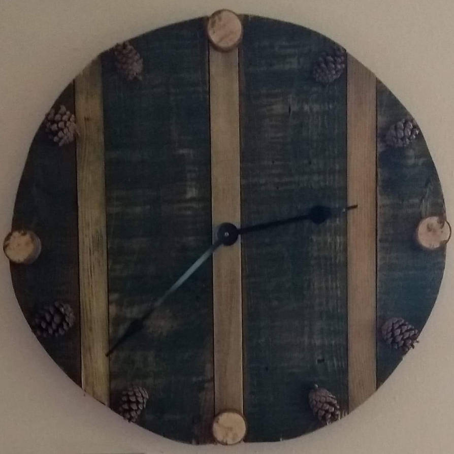 Pinecone and birch clock by john240685