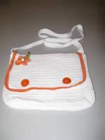 White and Orange crochet bag by Little-Vampire