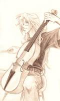 -sketch- Musicians-- Cellist by ajie-g