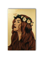 Flower woman (wooden marquetry) by Andulino