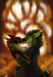 Cool people kiss in front of explosions... by Chaluny