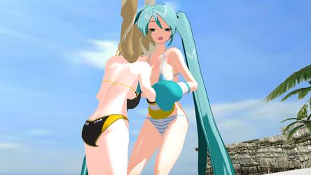 Yellow Sister VS Miku Beach Boxing 3 by nemesisvrsa2