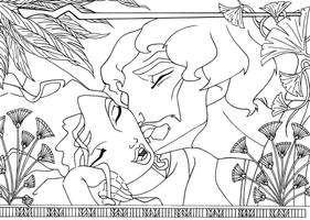 kiss Moses + Tzipporah lineart by lizzzy-art
