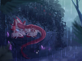 A silent within the rain | speedpaint by nutty-stardragon