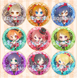Love Live! School Idol Project badges by mandachan