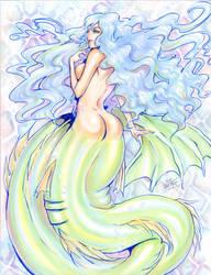 Mermaid in water by meomeoow
