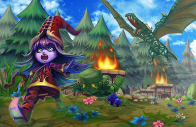 league of legends Dragon chasing Lulu and Amumu by meomeoow