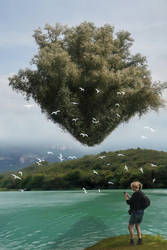 Magritte's Hovering Tree by taisteng