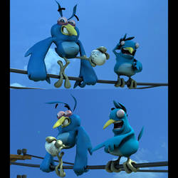 Mathieu Beaulieu's Twitter Birds Character Models by harveyhesko