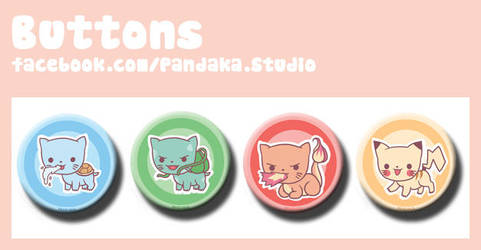 00 Pandaka buttons pkmn  meow edition by Silveril