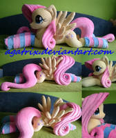 Life-size(laying down) Fluttershy plush with socks by agatrix