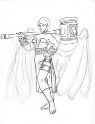 LoA Contest - Angel of Strength rough draft 2 by GoldenArms