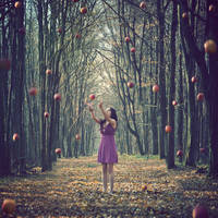Falling apples by LolaArtland