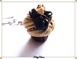 Mocha Coffee Cupcake Keychain by Cateaclysmic