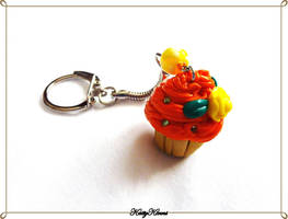 Summer Citrus Cupcake Keychain by Cateaclysmic