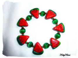 Watermelon Slice  Bracelet by Cateaclysmic