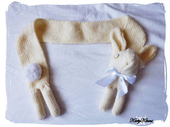 Cream Bunny Rabbit Scarf by Cateaclysmic