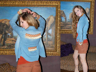 denim blouse with Ribbon by GigitjeR