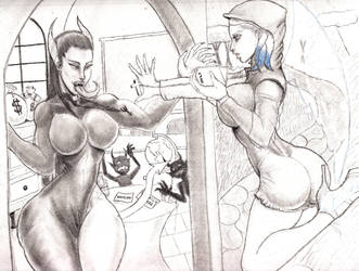 Nun Slime Girl Vs Nun Demon girl ( Request ) by AJCancer