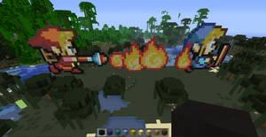 Red Link burns Blue Link (Minecraft) by slygirl1999