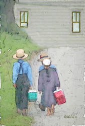 Amish children off to school by goldcoin