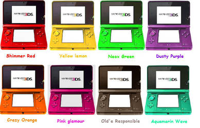 Ideas for new 3DS Colours by Sulfura