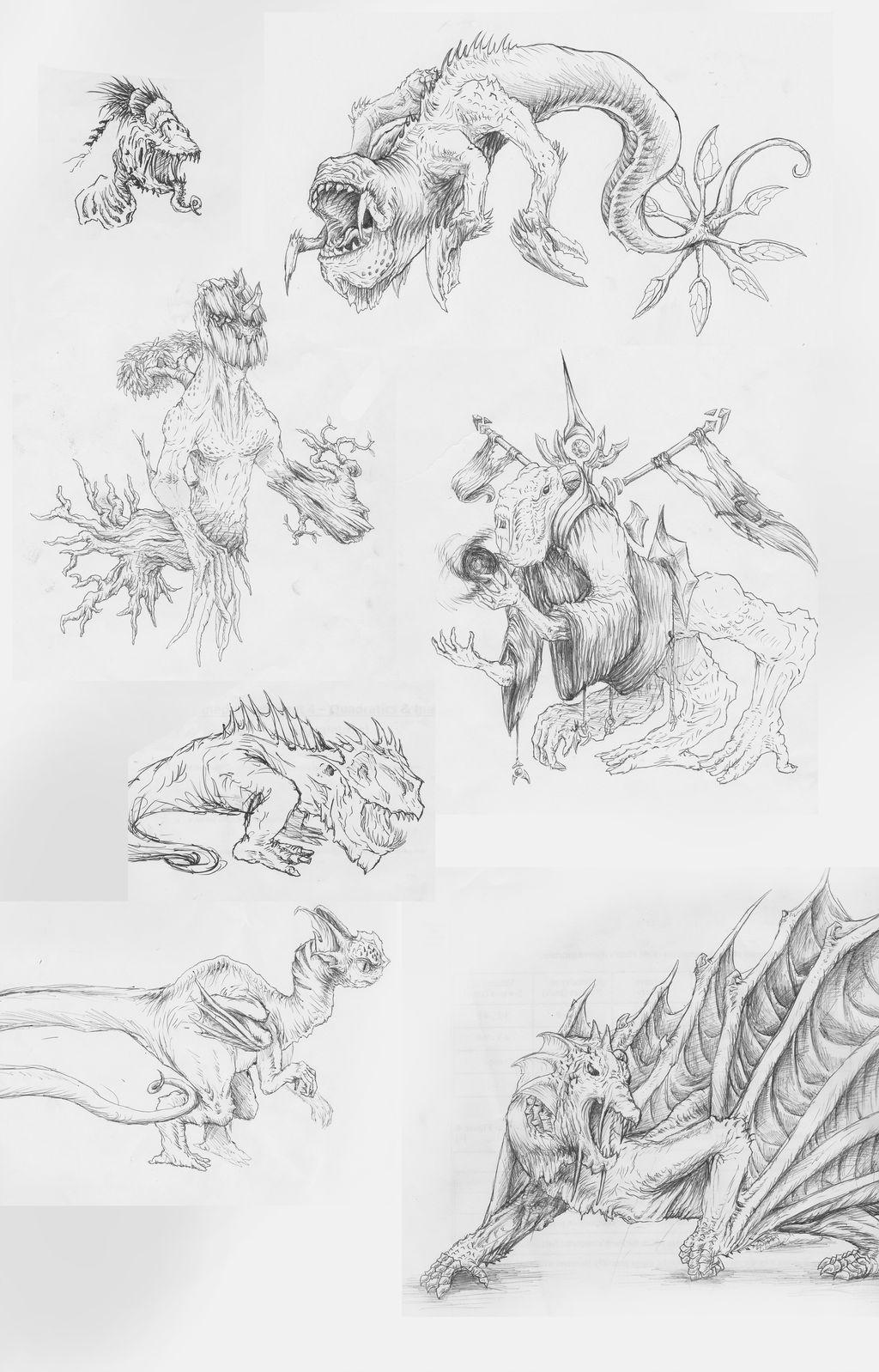 Biro pen sketch dump 2 by LOLzitsaduck