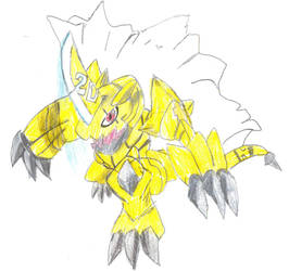 Zubamon, the Golden Dragon Digimon by poseidon777