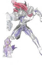 Justimon: Digivolved from Monodramon by poseidon777