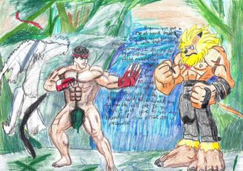Ryu VS Leomon Art Trade by poseidon777