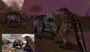 Carnivores 2 - Styracosaurus vs. Gorgosaurus by Poharex