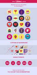 20 Valentine's Day Flat Icons Set by mysweetmaya