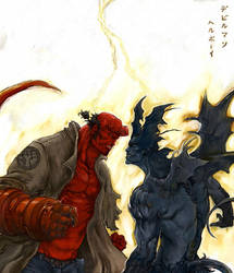 -HELLBOY-vs-DEVILMAN - by kunkka