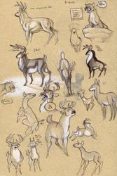 Deer sketchpage by Kobb