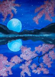 Full moon and flowering sakura by Laurindie