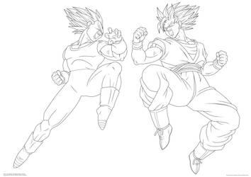 $Goku and Vegeta. :Lineart: by moxie2D