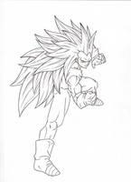 SSj3 Fighting Pose. :Sketch: by moxie2D