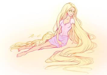 Rapunzel Sketch by moxie2D